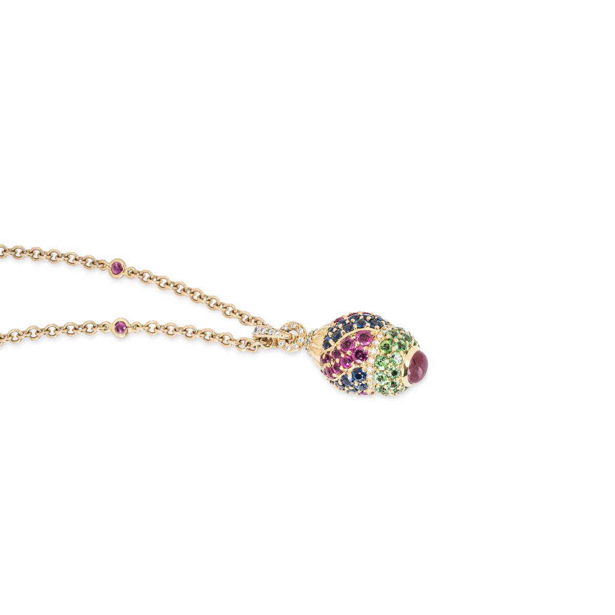 Yellow Gold Diamond, Ruby, Sapphire and Peridot Egg Pendant